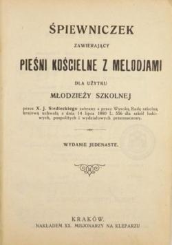 Śpiewniczek zawierający pieśni kościelne z melodjami dla użytku młodzieży szkolnej, 1922 r.