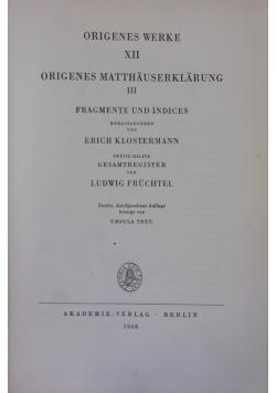 Origenes Werke XII - Origenes Matthauserklarung III