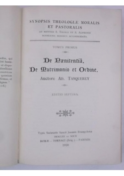Synopsis Theologiae Moralis et Pastoralis, 1920 r.