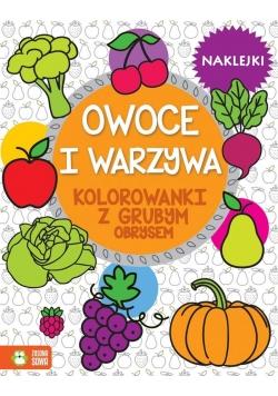 Warzywa i owoce. Kolorowanki z grubym obrysem