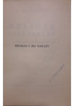 Religja i jej nakazy, 1933r.