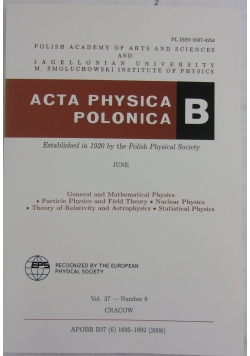 Acta physica polonica B Vol.37-Number 6