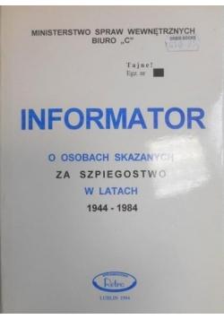 Informator o osobach skazanych za szpiegostwo w latach 1944-1984