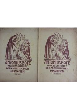 Antoniusbote Monatsschrift der Franziskaner missionen , zestaw 2 książek, 1937r
