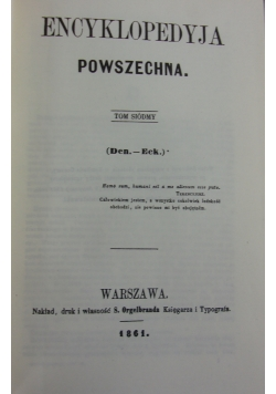Encyklopedia Powszechna tom VII, reprint z 1861r.