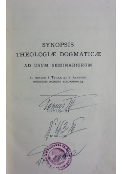 Synopsis theologiae dogmaticae, tomus III, 1934r.