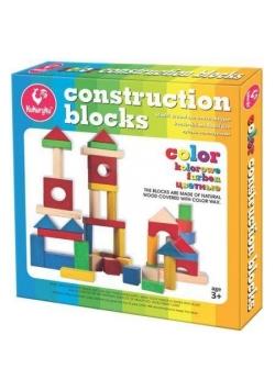 Klocki drewniane konstrukcyjne kolorowe