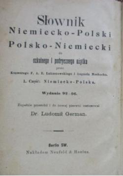 Słownik niemiecko-polski i polsko-niemiecki, 1925 r.