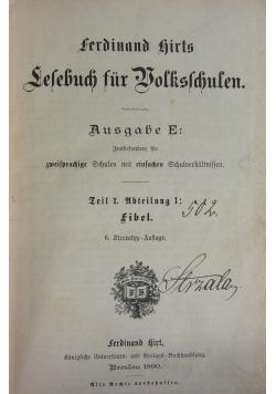 Lesebuch fur Bolkschufen, 1890 r.