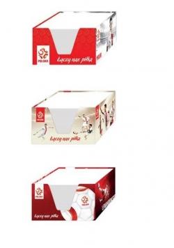 Kostka papierowa biała 9x9x5 w kubiku PZPN