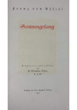 Sonnengesang, 1921 r.