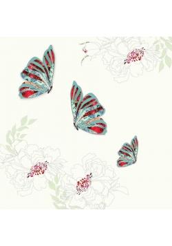 Karnet Swarovski kwadrat CL0507 3 motyle i kwiaty