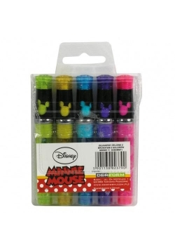 Długopisy żelowe z brokat 5kolorów Minnie 11 KIDEA