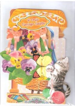 Karnet składany 3D - Kotek i kwiaty