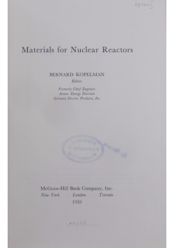 Materials for Nuclear Reactors
