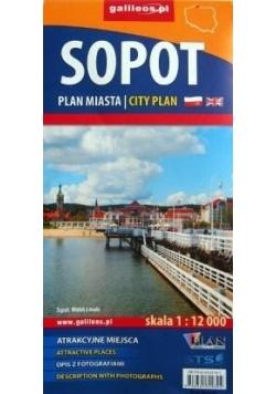 Plan miasta - Sopot pol-ang 1:12 000
