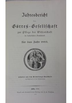 Jahresbericht der Görres-Gesellschaft, 1883 r.