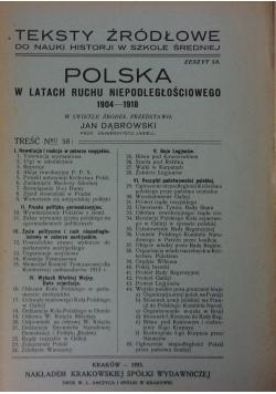 Teksty źródłowe. Polska w latach ruchu niepodległościowego 1904-1918, 1925r.
