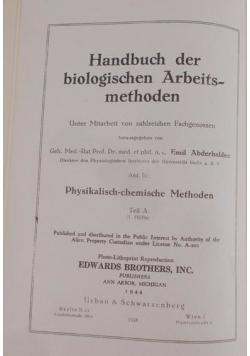 Handbuch der biologischen Arbeitsmethoden, 1944