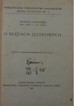O błędach językowych,1921r.