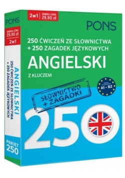 250 ćwiczeń/250 zagadek słownictwo. Angielski 2w1
