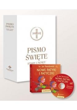 Pismo Święte ST i NT wielkie białe + audiobook