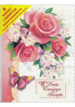 Karnet składany 3D - Róże i motyl