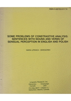 Some problems of contrastive analysis: Sentences with nouns and verbs of sensual perception in english and polish