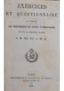 Exercices et questionnaire , 1879 r.