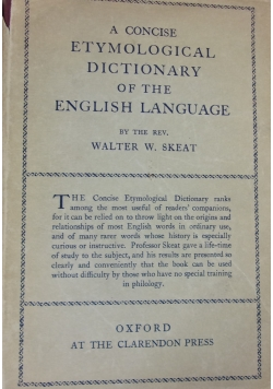 A concise etymological dictionary of the english language, 1948 r.