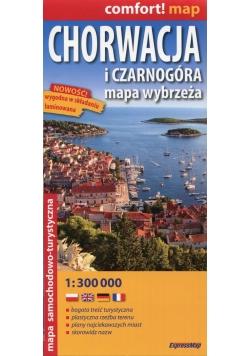 Chorwacja i Czarnogóra mapa wybrzeża mapa samochodowo-turystyczna 1:300 000
