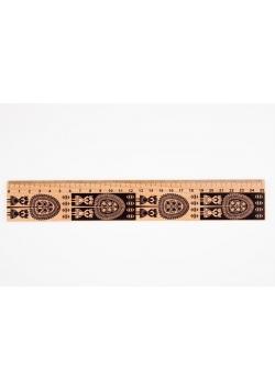 Linijka drewniana 25 cm kurpiowska FOLKSTAR