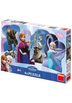 Puzzle 4x54 Kraina Lodu DINO