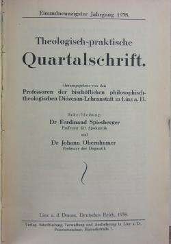 Teologisch-praktische Quartalschrift, 1938r.