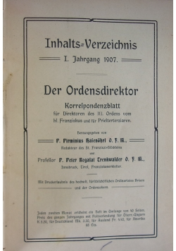 Der Ordensdirektor, 1907 r.