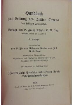Handbuch für leitung des dritten ordens, 1928 r.