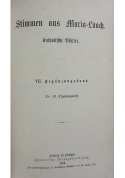 Stimmen aus Maria-Laach katholische Blätter, 1884 r.