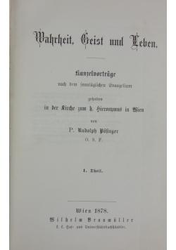 Wahrheit Geist und Leben,1878r.