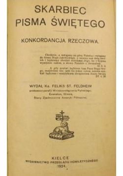 Skarbiec Pisma Świętego. Konkordancja rzeczowa, 1924 r.