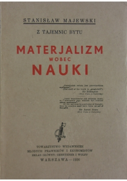 Materjalizm wobec nauki, 1936r.