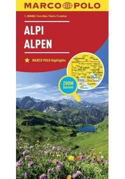 Mapa ZOOM System. Alpy 1:800 000 plan miasta