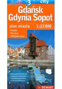 Gdańsk Gdynia Sopot Plastic plan miasta 1:23 000