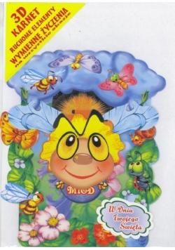 Karnet składany 3D - Pszczółka.