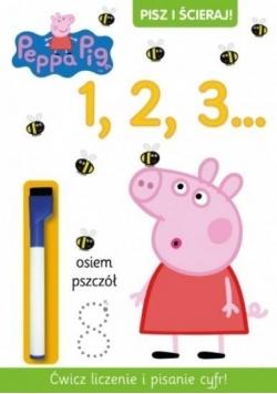 Świnka Peppa. Pisz i ścieraj! 1, 2, 3...