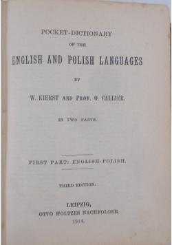 Słownik polsko-angielko i angielsko-polski, 1914 r.