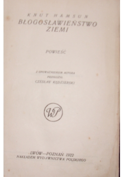 Błogosławieństwo Ziemi,1922r.