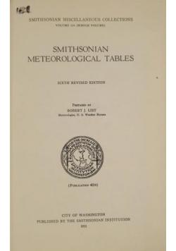 Smithsonian Meteorological Tables