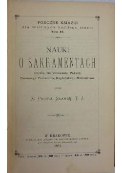 Nauki o sakramentach, 1891 r.