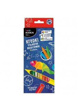 Kredki trójkątne bezdrzewne 12 kolorów KIDEA