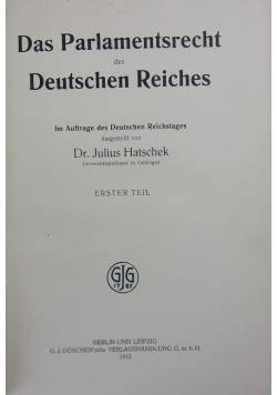 Das Parlamentsrecht des Deutschen Reiches, 1915r.